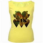 3 Dimention Kingdom Animal King Tree Climber Leopard  Women s Yellow Tank Top