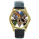 3 Dimention Kingdom Animal King Tree Climber Leopard  Round Gold Metal Watch