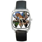 3 Dimention Kingdom Animal King Tree Climber Leopard  Square Metal Watch