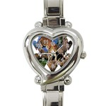 3 Dimention Kingdom Animal King Tree Climber Leopard  Heart Italian Charm Watch