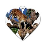 3 Dimention Kingdom Animal King Tree Climber Leopard  Dog Tag Heart (Two Sides)