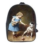 Young Girl Feeding A Dog By Carl Reichert School Bag (Large)