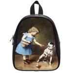 Young Girl Feeding A Dog By Carl Reichert School Bag (Small)