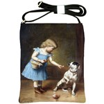 Young Girl Feeding A Dog By Carl Reichert Shoulder Sling Bag