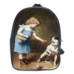 Young Girl Feeding A Dog By Carl Reichert School Bag (XL)