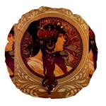 Donna Orechini By Alphonse Mucha 18  Premium Round Cushion