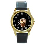 Having A Cup Of Love  Round Gold Metal Watch