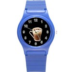 Having A Cup Of Love  Round Plastic Sport Watch Small