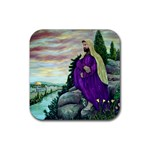 Jesus Overlooking Jerusalem By Ave Hurley - Rubber Square Coaster (4 pack)