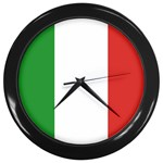 Italian Flag Wall Clock (Black)