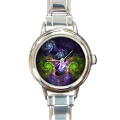 Blue and Green Dark Fractal Round Italian Charm Watch from DesignMonaco.com Front