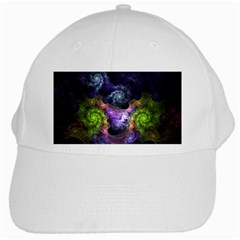 Blue and Green Dark Fractal White Cap from DesignMonaco.com Front