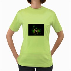 Blue and Green Dark Fractal Women s Green T Front