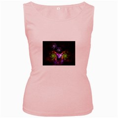 Blue and Green Dark Fractal Women s Pink Tank Top from DesignMonaco.com Front