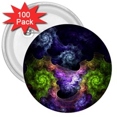 Blue and Green Dark Fractal 3  Button (100 pack) from DesignMonaco.com Front