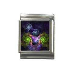 Blue and Green Dark Fractal Italian Charm (13mm) from DesignMonaco.com Front