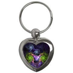 Blue and Green Dark Fractal Key Chain (Heart) from DesignMonaco.com Front