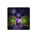 Blue and Green Dark Fractal Magnet (Square)