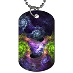 Blue and Green Dark Fractal Dog Tag (One Side)