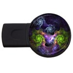 Blue and Green Dark Fractal USB Flash Drive Round (1 GB)