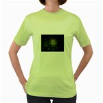 Dark Web Fractal Women s Green T-Shirt