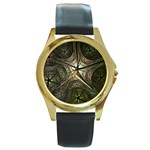 Dark Web Fractal Round Gold Metal Watch