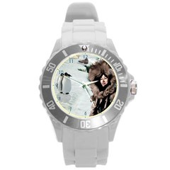 Eskimo Scene wallclock Round Plastic Sport Watch Large from Aussie Custom Gifts Front