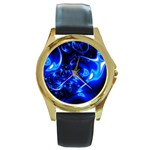 Outer Space Fractal Round Gold Metal Watch