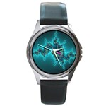 Teal Fractal Round Metal Watch