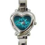 Teal Fractal Heart Italian Charm Watch