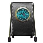 Teal Fractal Pen Holder Desk Clock