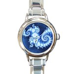 Ice Blue Fractal Round Italian Charm Watch