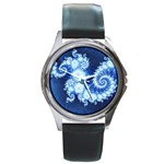 Ice Blue Fractal Round Metal Watch