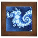 Ice Blue Fractal Framed Tile