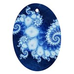 Ice Blue Fractal Ornament (Oval)