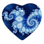 Ice Blue Fractal Ornament (Heart)