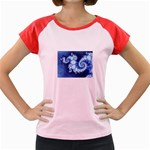 Ice Blue Fractal Women s Cap Sleeve T-Shirt