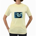 Ice Blue Fractal Women s Yellow T-Shirt