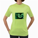 Ice Blue Fractal Women s Green T-Shirt