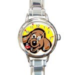 Dog Round Italian Charm Watch