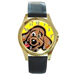 Dog Round Gold Metal Watch