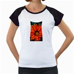 Orange Flower Women s Cap Sleeve T