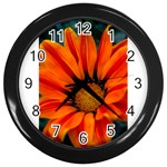 Orange Flower Wall Clock (Black)