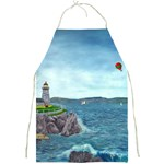Lighthouse with Hot Air Balloon - by Ave Hurley Full Print Apron