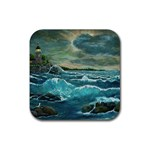 Hobson s Lighthouse -AveHurley ArtRevu.com- Rubber Square Coaster (4 pack)