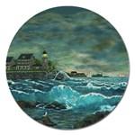 Hobson s Lighthouse -AveHurley ArtRevu.com- Magnet 5  (Round)