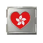 Hong Kong Flag Megalink Heart Italian Charm (18mm)