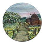 Amish Apple Blossoms -AveHurley ArtRevu.com- Round Mousepad