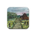 Amish Apple Blossoms -AveHurley ArtRevu.com- Rubber Square Coaster (4 pack)