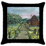 Amish Apple Blossoms -AveHurley ArtRevu.com- Throw Pillow Case (Black)